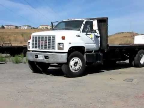 Flatbed Tow Truck >> Lot 104 - 1991 GMC Topkick Flatbed Truck - YouTube