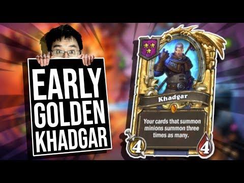 Super Early GOLDEN KHADGAR!! | Battlegrounds | Hearthstone