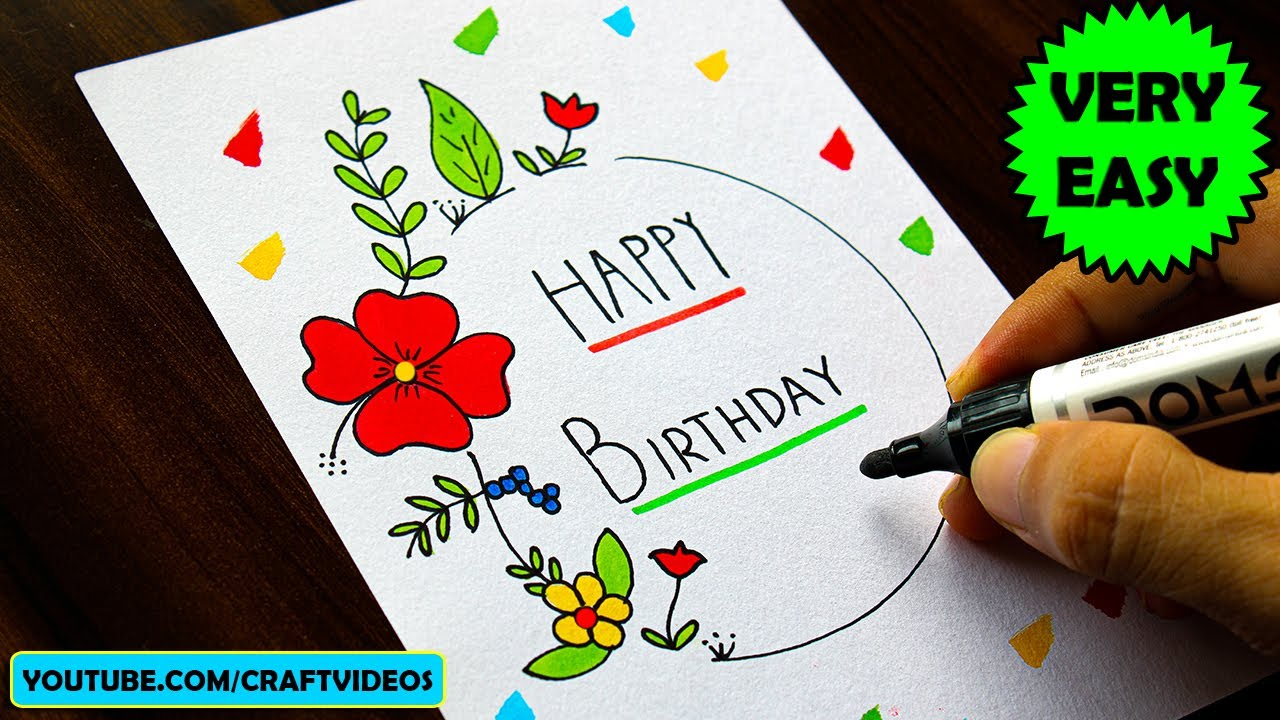 Birthday Card Drawing Easy Youtube