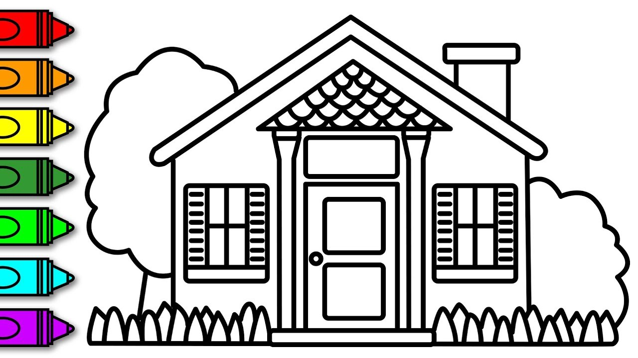Learn how to draw and colour a house with garden coloring pages for kids