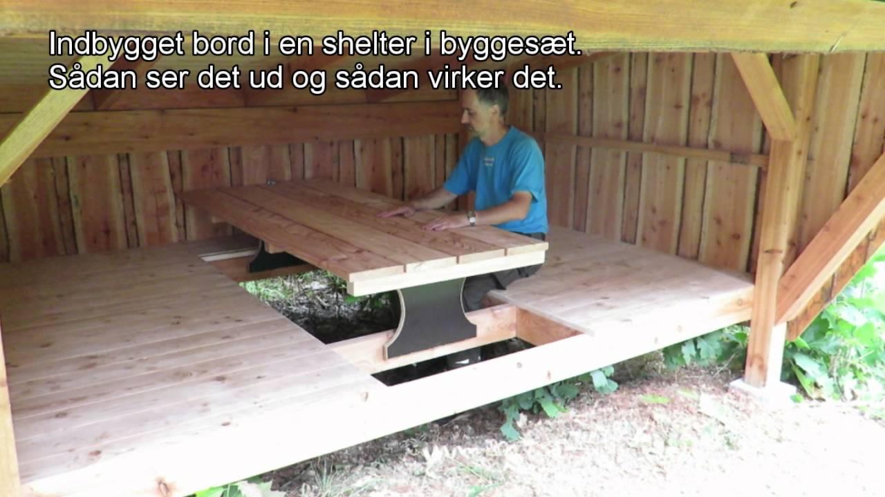 Indbygget bord i shelter - YouTube
