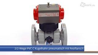 2/2-Wege-PVC C Kugelhahn pneumatisch mit Festflansch
