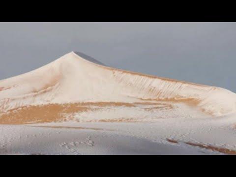 Rare snow falls in the Sahara Desert