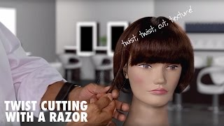 Twist Cutting with a Razor to Add Texture to Hair
