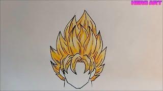 Hướng dẫn vẽ và tô màu tóc goku siêu xayda đơn giản