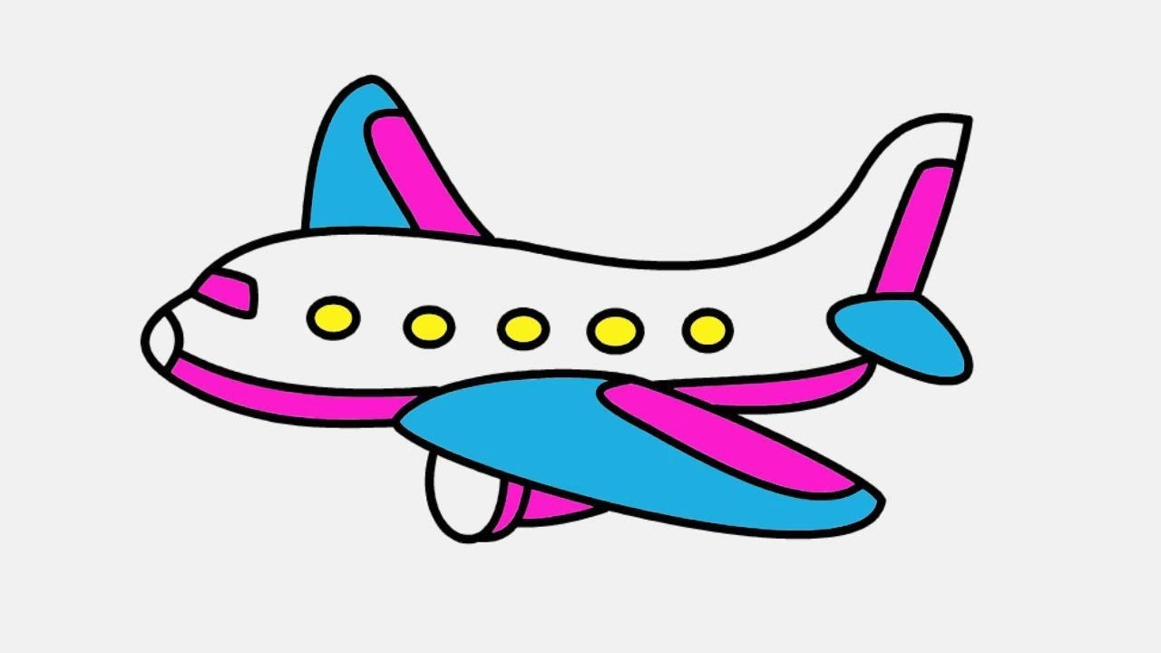 cartoon airplane drawing with color