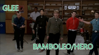 Glee-Bamboleo/Hero (Lyrics/Letra)