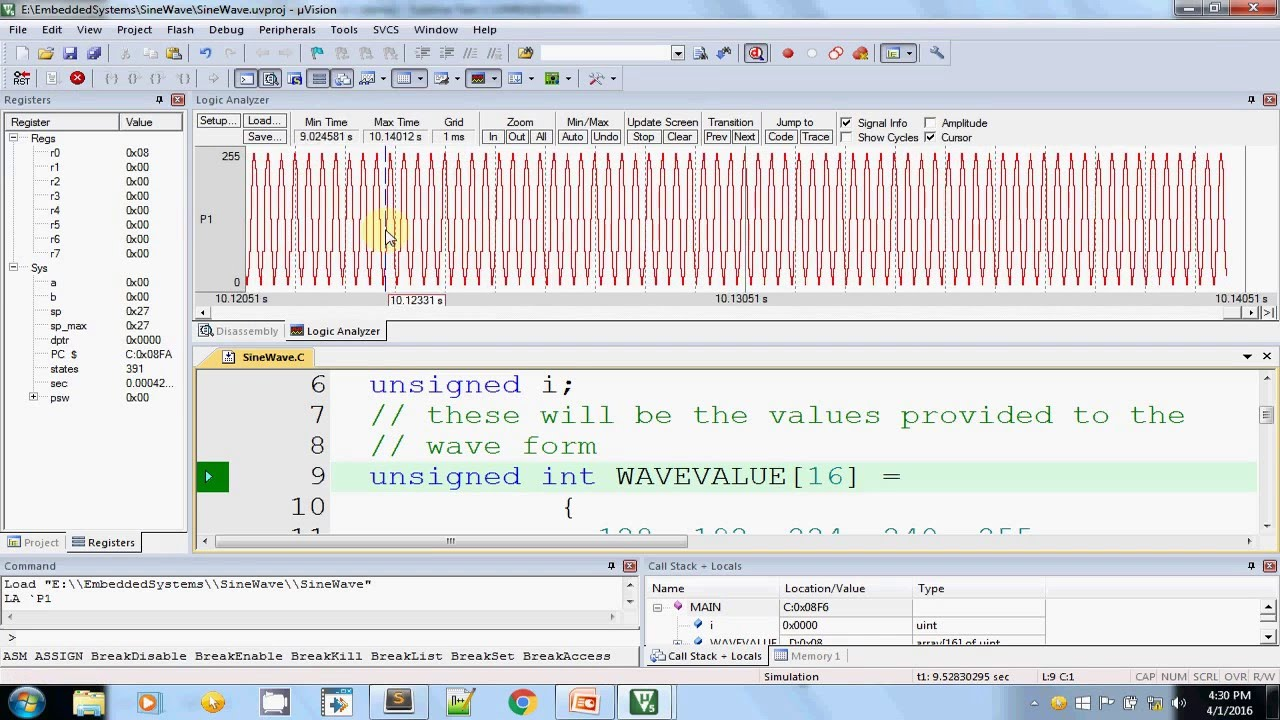 Embedded System Practical - Sine Wave Generation using Keil uVision