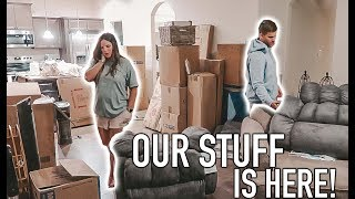 OUR STUFF IS HERE! UNPACK & ORGANIZE WITH US | Casey Holmes Vlogs
