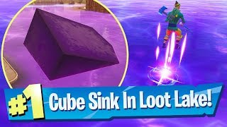 LOOT LAKE IS BOUNCY?! (Rift Cube Sinking In Loot Lake Footage) - Fortnite Battle Royale