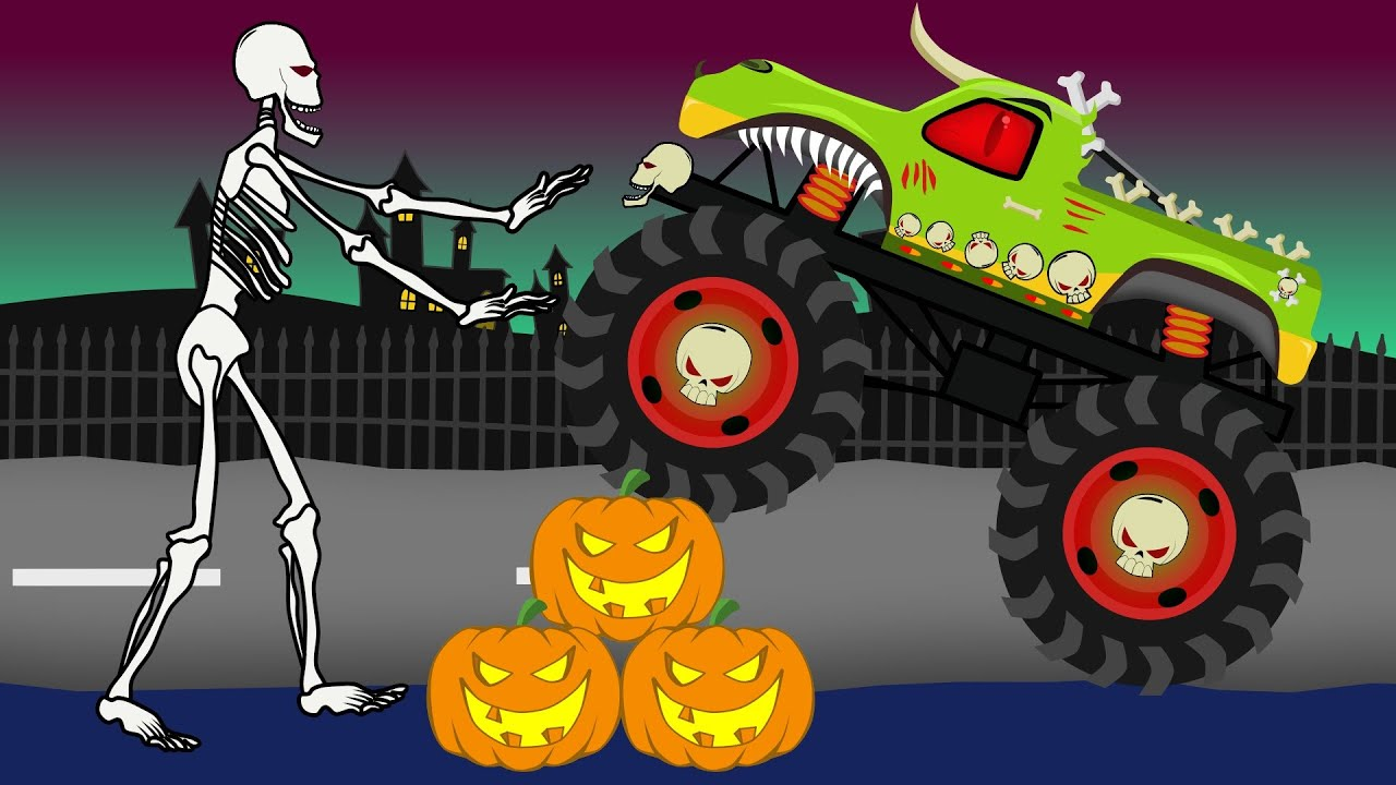 2016 Jeep Truck >> Monster Truck Halloween | Vehicles For Kids | Bajka Dla ...