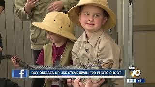 Boy dresses up like Steve Irwin for phot shoot