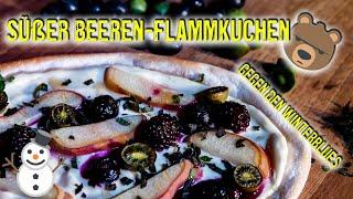 🤗Rezept für einen süßen 🥞 Flammkuchen mit Beeren vom Grill!