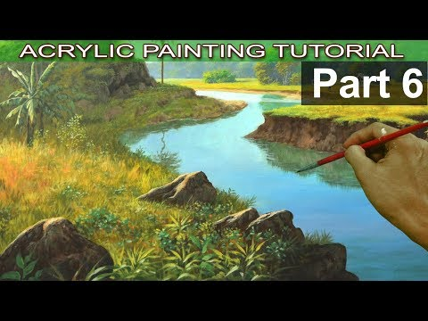 Acrylic Landscape Painting on Bigger Canvas | Adding Bushes, Grasses, Bananas and Rocks | Part 6