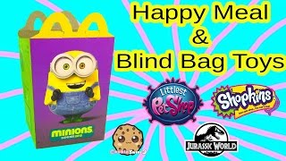 Mcdonalds Minions Happy Meal Box - Surprise Blind Bag Toys - Shopkins Season 3, LPS,  Jurassic World