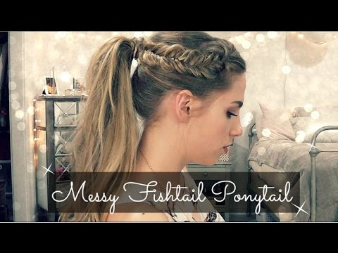 Messy Fishtail Braid Ponytail