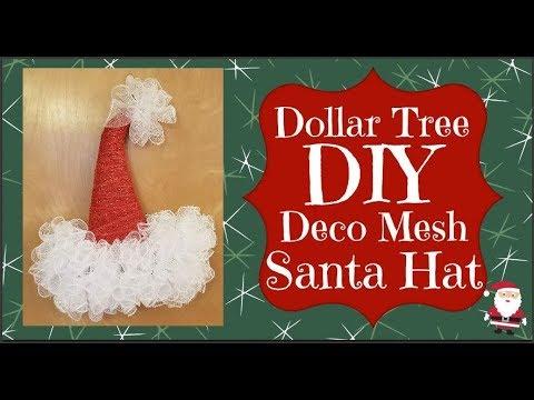 Dollar Tree DIY Deco Mesh Santa Hat