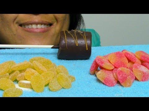 ASMR Eating Marshmallow Pop Haribo Peaches Ginger Lemon Gummy Candies ScorpioAnnASMR