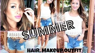Hot Weather SUMMER Makeup, Hair, & Outfit