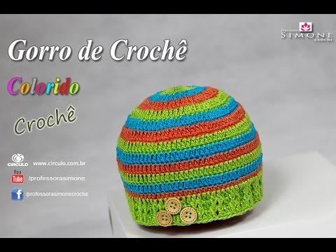 4185fa106b197 Gorro de crochê colorido Menino - passo a passo -  Professora Simone   crochet