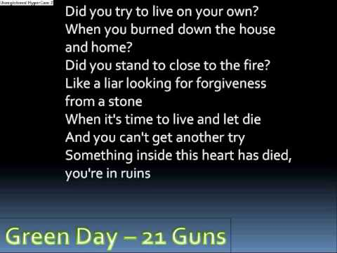 Lyrics to 21 guns by green day