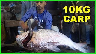 Incredible Big Carp Catla Fish Cutting By Young Boy | Huge Size Indian Major Carp Fish Slice 2018