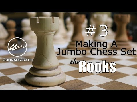 Making a GIANT CHESS SET episode 3: Turning the Rooks and cutting the  castle tops  -Conrad Craft