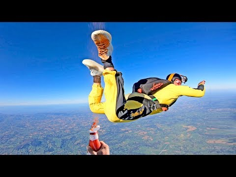 Skydiving with YEEZY Boost 350 V2 CLOUD WHITE-  Spraying Ketchup at 180MPH - 4K EXTREME CLEAN