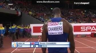 Christophe Lemaitre Finale 100m Championnat d'europe 2014