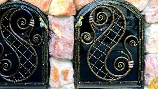 Маленькая дверь дверца для камина барбекю печи ковка и стекло дизайн арочная конструкция кованая