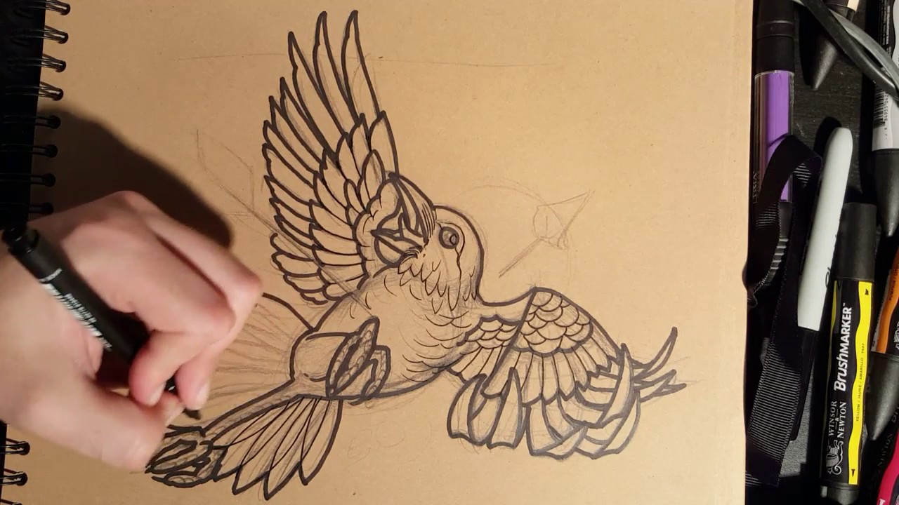 Line Drawing Face Tattoo : How to draw a crow tattoo style youtube
