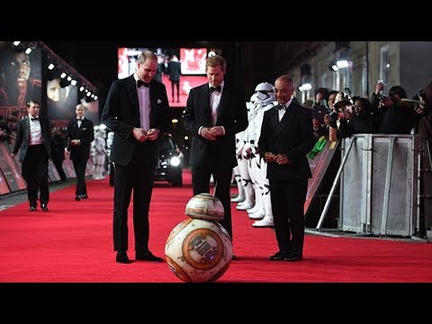 Prince William and Prince Harry meet BB-8 at Star Wars: The Last Jedi premiere