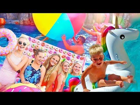 Giant Unicorn Donut Pool Party!