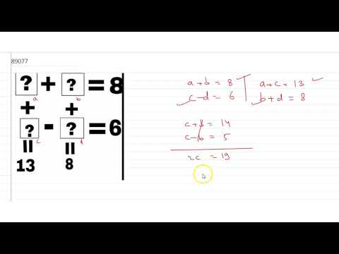 `a+b=8,c-d=6,a+c=13,b+d=8` Then `a,b,c,d`is :