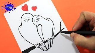 Como dibujar pájaros enamorados/ how to draw birds in love/Como hacer una tarjeta