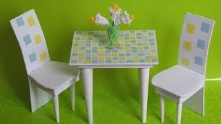Как сделать кухонный стол и стулья для кукол(Предлагаю вам сделать такой симпатичный кухонный комплект для ваших куколок!, 2015-08-27T12:48:45.000Z)