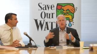 Governor #JerryBrown talks about the potential $10000/day fine for cities not meeting water conserva