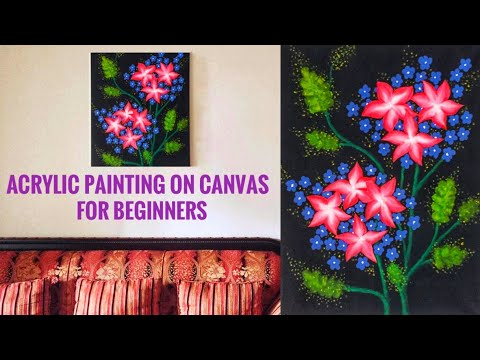 Easy canvas painting for beginners | acrylic painting | Diy canvas wall decor | #38