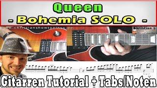 ★queen Bohemia Rhapsody solo + Tabs - Gitarren Tutorial Deutsch | Lesson | How