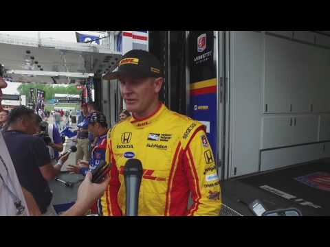 Ryan Hunter-Reay speaks with media at Barber on Saturday
