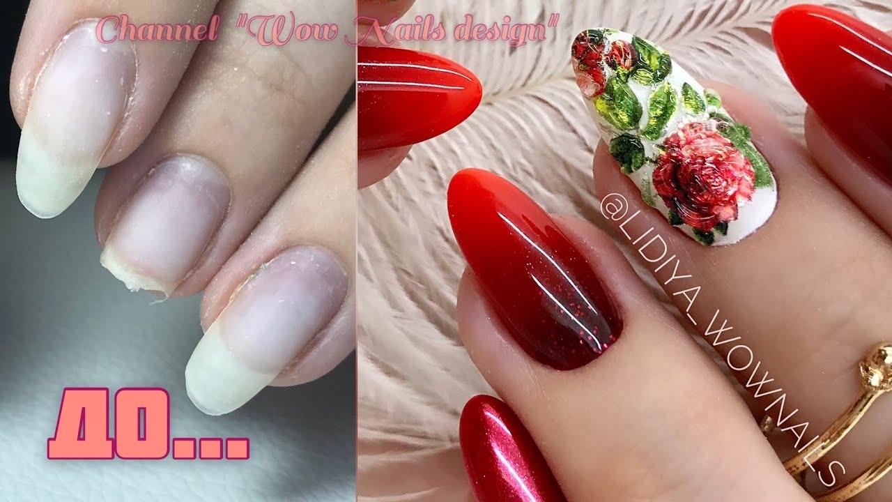 Осенний дизайн ногтей Хрустальные слайдеры Роза на ногтях / Красный маникюр на клиенте