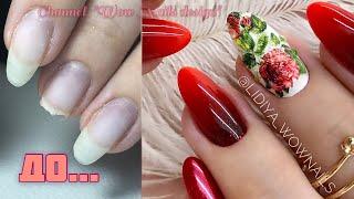 Осенний дизайн ногтей Хрустальные слайдеры Роза на ногтях Красный маникюр на клиенте