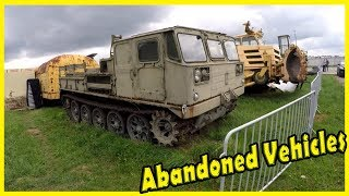 Old Abandoned Heavy Equipment. Abandoned Aviation Support Equipment. Abandoned Trucks