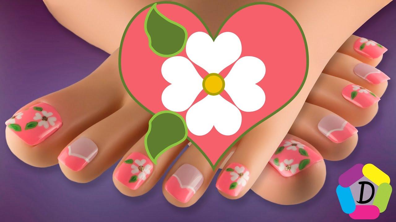 Flores en Corazones | Decoración de Uñas para Pies Fácil | Flowers ...