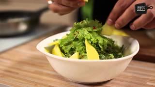 салат с гребешком и манго