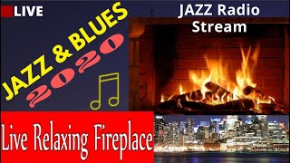 🔴Jazz and Blues Music | LIVE Relaxing Fireplace