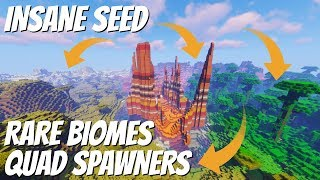Best Seed Ever? Quad Spawner & INSANE Biomes: Jungle Mesa Mushroom Ice Spikes All nearby (Avomance)