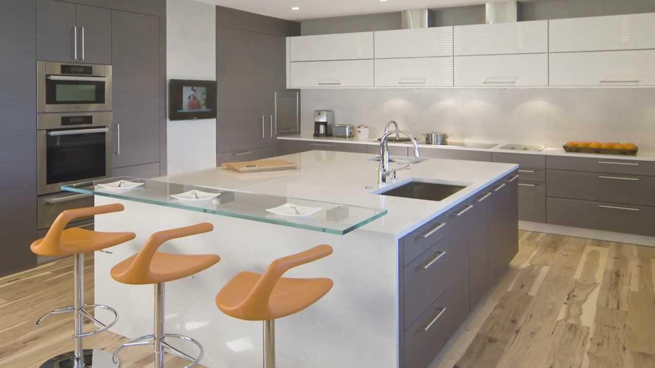 kitchen design - large square island in this high-end condominium
