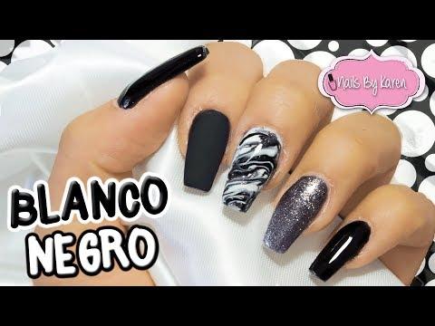 Uñas Blanco Y Negro Con Efecto Marmoleado Youtube