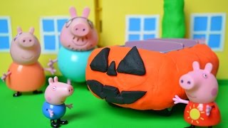 Peppa Pig Halloween Episode Play-Doh Pumpkin Car Mammy Pig Daddy Pig Kids Story